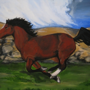 running horse - old - acrylic