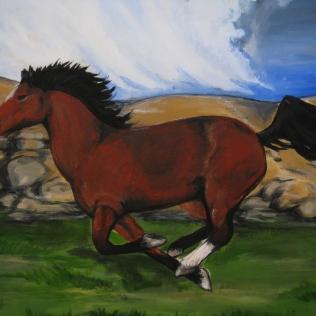 running horse - old - acrylic